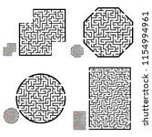 set of labyrinths  mazes...   Shutterstock .eps vector #1154994961