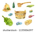 accessories for bathhouse.... | Shutterstock . vector #1155006397