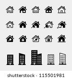 houses vector icons set | Shutterstock .eps vector #115501981