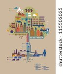 Colorful Vector City In Form O...