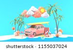 car and surfboard surrounded by ... | Shutterstock . vector #1155037024