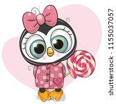 cute cartoon penguin in a coat... | Shutterstock .eps vector #1155037057