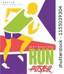 run  best marathon  colorful... | Shutterstock .eps vector #1155039304