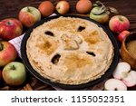 homemade tasty apple pie with... | Shutterstock . vector #1155052351