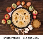 homemade tasty apple pie with... | Shutterstock . vector #1155052357