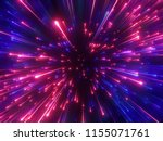 3d Render  Red Blue Fireworks ...