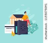 keeping money in the bank ... | Shutterstock .eps vector #1155075091