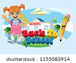 cute school girl with back to... | Shutterstock .eps vector #1155083914