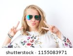 teenage girl with glasses... | Shutterstock . vector #1155083971