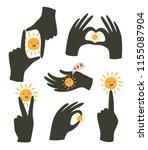 hands gestures with sun... | Shutterstock .eps vector #1155087904