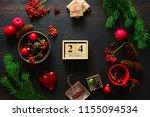 christmas decor stuff on moody...   Shutterstock . vector #1155094534