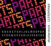 mosaic font. vector alphabet... | Shutterstock .eps vector #1155095464