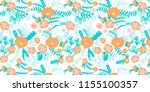 abstract flowers pattern ... | Shutterstock . vector #1155100357