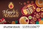 diwali celebration at home with ... | Shutterstock .eps vector #1155110677
