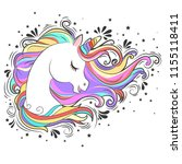 cute white unicorn with rainbow ... | Shutterstock .eps vector #1155118411