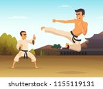 karate fighters cartoon... | Shutterstock .eps vector #1155119131