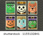 happy halloween greeting card... | Shutterstock .eps vector #1155132841