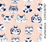 seamless pattern with cute cats ... | Shutterstock .eps vector #1155138787