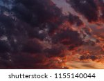 dramatic red sky before sunset | Shutterstock . vector #1155140044