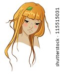 beauty girl with leaf in her... | Shutterstock .eps vector #115515031