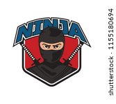 ninja with sword and mask logo. ... | Shutterstock .eps vector #1155180694