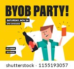 byob party template for poster  ... | Shutterstock .eps vector #1155193057