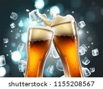 two beer glasses  with bubbles... | Shutterstock .eps vector #1155208567