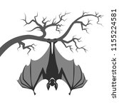 bat on branch. halloween bat... | Shutterstock .eps vector #1155224581