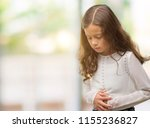brunette hispanic girl with... | Shutterstock . vector #1155236827