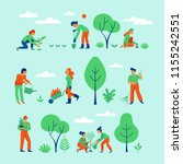 vector set of illustrations in... | Shutterstock .eps vector #1155242551