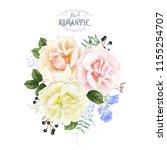 vector vintage floral... | Shutterstock .eps vector #1155254707