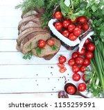 resh cherry tomatoes and herbs... | Shutterstock . vector #1155259591