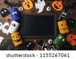 halloween monsters with wooden... | Shutterstock . vector #1155267061
