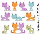 very cute baby kittens set | Shutterstock .eps vector #115528174