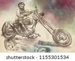 biker. an bearded man and his... | Shutterstock . vector #1155301534