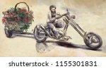 the biker   the love maker. an... | Shutterstock . vector #1155301831