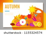 autumn background with colorful ... | Shutterstock .eps vector #1155324574