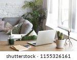 workplace of modern freelancer... | Shutterstock . vector #1155326161