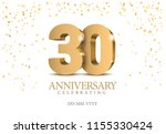 anniversary 30. gold 3d numbers.... | Shutterstock .eps vector #1155330424