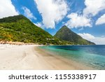 idyllic white sand tropical... | Shutterstock . vector #1155338917