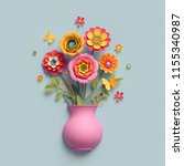 Stock photo  d render craft paper flowers pink vase floral bouquet autumn botanical arrangement fall 1155340987
