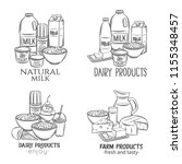 hand drawn dairy product... | Shutterstock .eps vector #1155348457