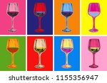 wine glass hand drawing... | Shutterstock . vector #1155356947