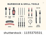 barbecue  grill set. poster bbq ... | Shutterstock . vector #1155370531