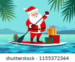 cute santa claus on paddle... | Shutterstock .eps vector #1155372364