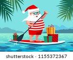 Cute Santa Claus On Paddle...