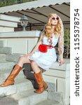 beautiful blonde woman in boho... | Shutterstock . vector #1155378754