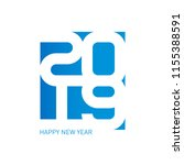 happy new year 2019. vector... | Shutterstock .eps vector #1155388591