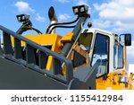 bulldozer  huge yellow powerful ... | Shutterstock . vector #1155412984