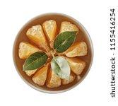 tangerine on bowl. preparing...   Shutterstock . vector #1155416254